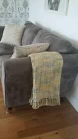 Large grey velvet settee