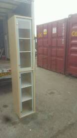 tall beech display cabinet