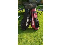 Golfing clubs, bags + trolley