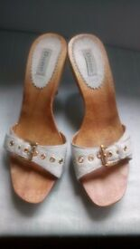 ladies Dune white pony skin mule high heel sandals, size 5/38