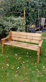 Solid handmade garden bench
