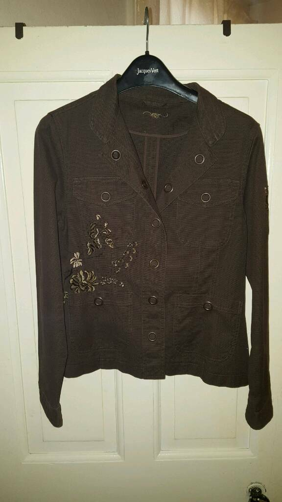 New look Brown floral designed coat size 12in Bobbersmill, NottinghamshireGumtree - Brown neu look floral designed denim styled jacket