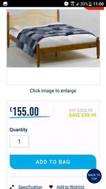 Pine and cream double bed