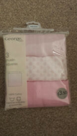 3 Pack Pink Muslin Squares