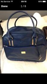 Navy Blue Mock Croc Weekend Bag - New
