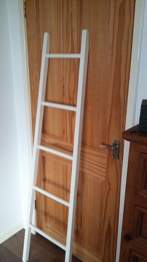Decorative white wooden ladder towel holder