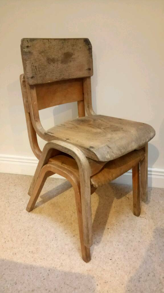 2 x Vintage Kids School Chairs