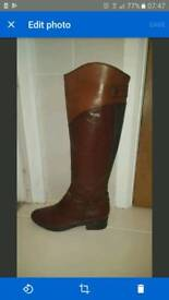 Clarks brown leather boots size 5.5