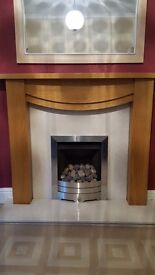 gas fire surround marble arth and back