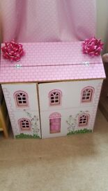 Childrens wooden doll house and new furniture - Excellent condition