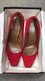 Hobbs real red leather suede court shoes size 5/38.