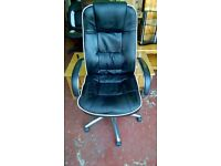Black with cream piping high backed leather style office chair