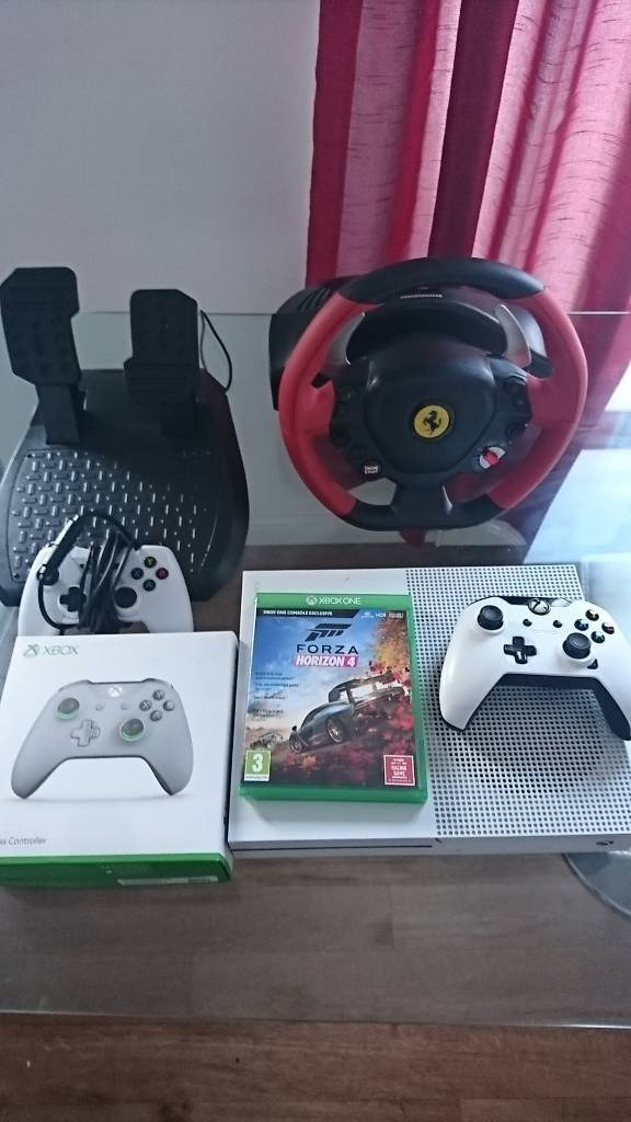 REDUCED Xbox one S with 3 controllers, steering wheel with pedals and forza  horizon 4 | in Leyland, Lancashire | Gumtree