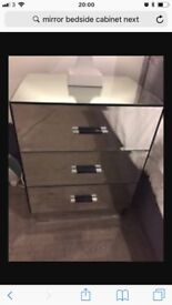 Mirrored Bedside Cabinets x2