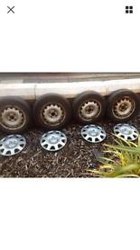 "14"" steel wheels and tyres"