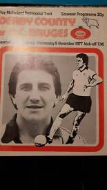 Derby County testimonials football programmes