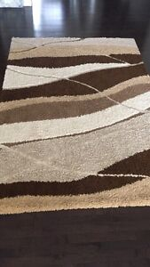 Brown, white rug
