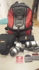 Pentax SLR Camera & 2 lens with cases, 3 filters & camera backpack