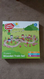 75 piece wooden train set with box and instructions