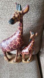 Cute pair of wooden giraffes