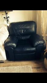 Real Leather reclining chair in black