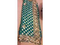 turquoise green saree- good condition