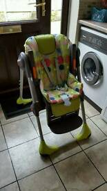 Chicco highchair. Height adjustable and recline adjustments