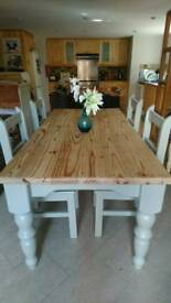Solid pine farmhouse table and chairs