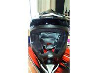 SHOX MX-1 MOTORCROSS HELMET GLOSS BLACK. S(55-56) BOXED. INC GLOVES QTECH KNEE AND ELBOW PROTECTORS