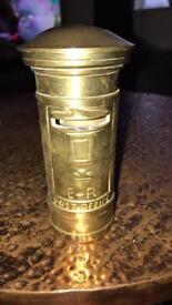 Soild Brass post box money box - £20