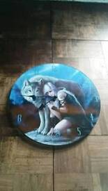 Anne Stokes wolf and girl wall clock