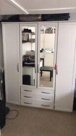 White Wardrobe excellent condition H206cm, W199,D56cm