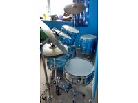 5 Piece Acoustic Drum Kit, comes with foot pedal, High hat, plus 2 crash cymbals