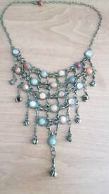 Brass and natural stone large necklace