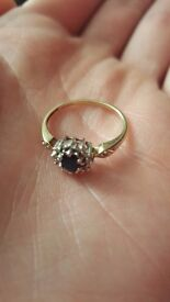 9ct Yellow Gold Diamond Sapphire Ring Size O