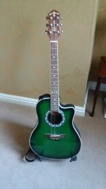 Crafters Semi Acoustic guitar with strap and stand
