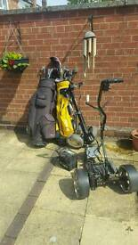 Golf Club set with golf battery and carriers trollies trolly