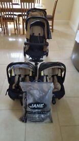 Jane powerpro twin Buggie with car seats
