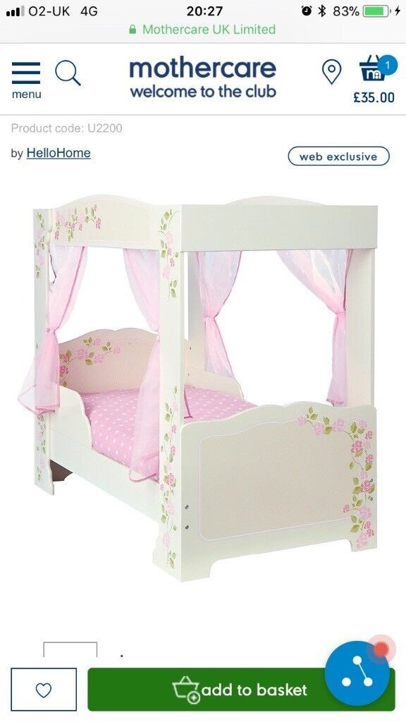 Solid wooden 4 poster toddler bed with drapes