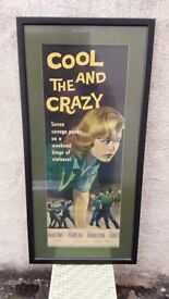 COOL AND THE CRAZY - ORIGINAL 1950s JUVENILE DELINQUENT FILM POSTER - FRAMED IN VERY GOOD ORDER