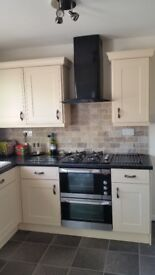 AEG gas hob and electric double oven with grill + matching black extractor