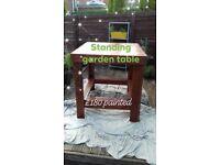 Handmade standing height garden table
