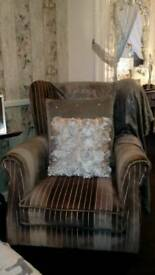 REDUCED!!! MUST GO ASAP Grey & silver striped wing back chair