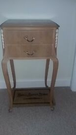 Solid chest of drawers and bedside cabinet