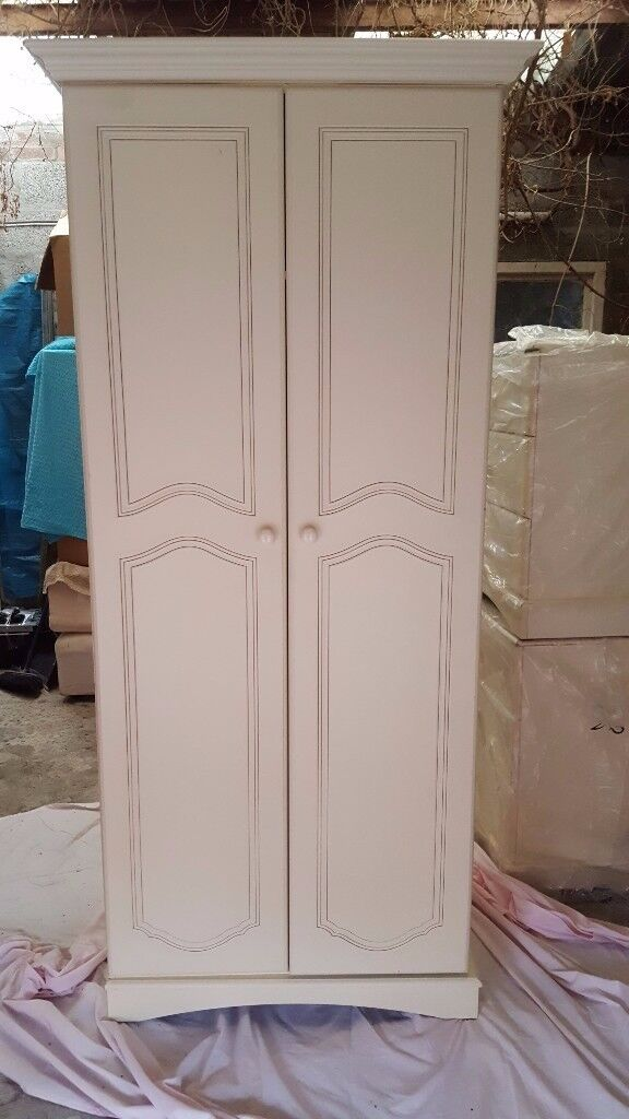 Bedroom Wardrobe and Chest of 3 Drawers Set, Cream, Solid Wood, - £40 the Set
