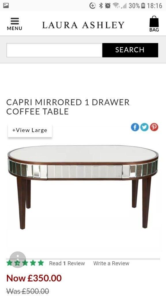 Laura Ashley Capri Mirrored Coffee Table In Esh Winning County Durham Gumtree