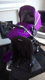 Damson Newstyle Silver Cross Wayfarer - chassis, carrycot, seat unit REDUCED!