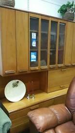 Teak 1960s wallunit with unusual bi folding doors