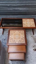 G plan coffee table and nest of table.