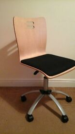 Office Chair good condition and adjustable seat wooden with black padded seat